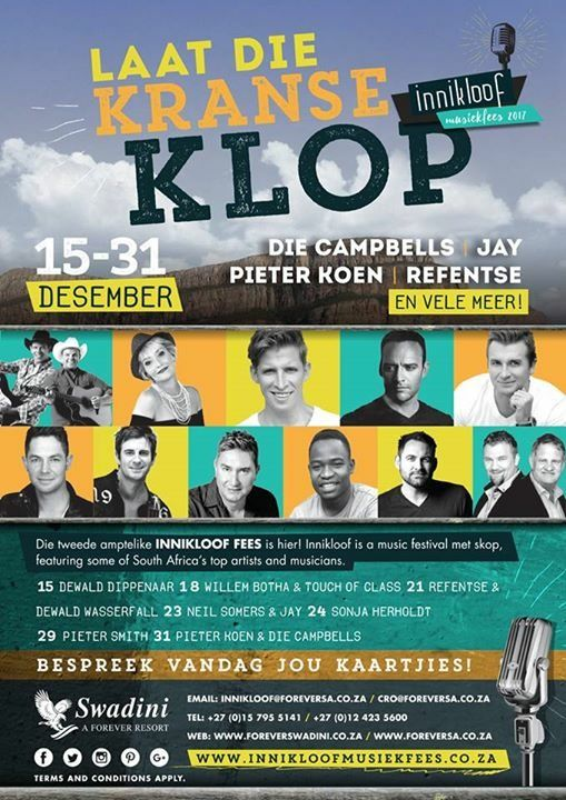 Check out the exciting line-up for Innikloof 2017!!!  Be sure not to miss the Music Festival of the year at Swadini, A Forever Resort For more info or bookings please contact 015 795 5141 or Email innikloof@foreversa.co.za