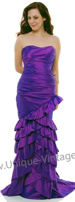 Purple Taffeta Fitted Ruffle Layered Strapless Prom Dress - XS to 3XL