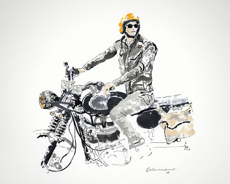 Throwback to a day in the life of Riccardo Pozzoli in the Fay Field Jacket for the Double Life project with this beautiful drawing by Emilio Cabanas.