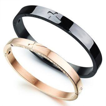 Crosses Couples Stainless Steel Bracelets Bangle Bracelet Crosses Blace and Rose Gold