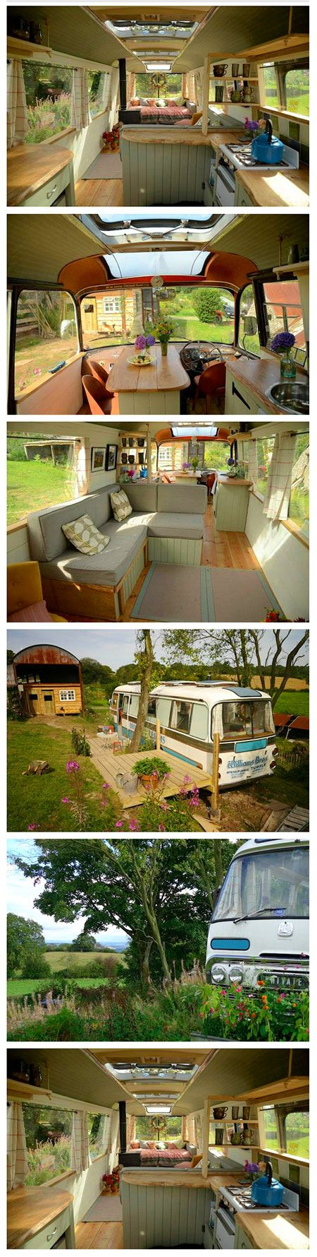6 Awesome Pictures Showing an Old Bus Turned Chic Home. Wow! You look on the outside and never guess how great it looks inside!