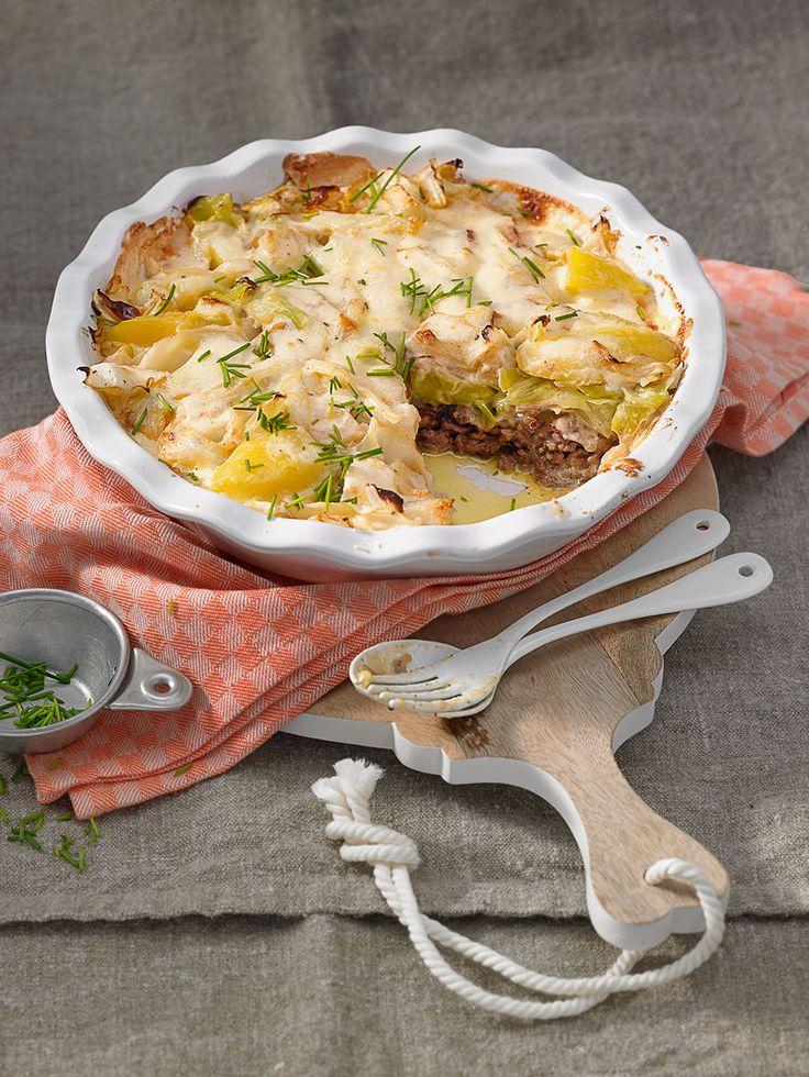 Spitzkohl-Auflauf mit Spitzkohl, Hackfleisch, Käse und Kartoffeln