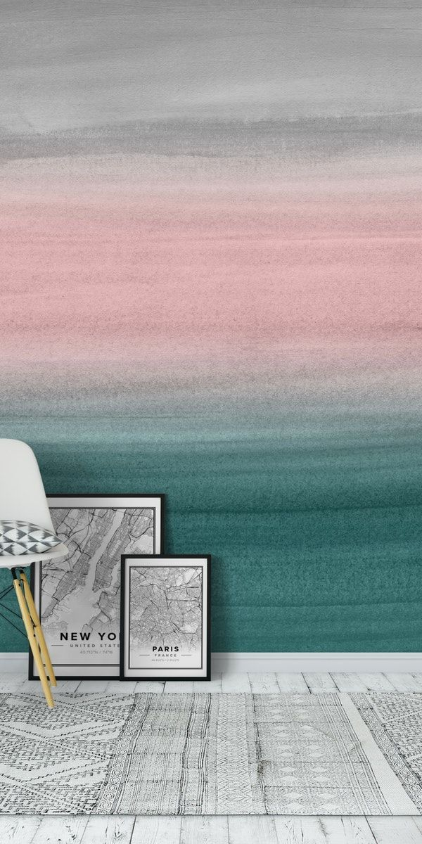 Teal Blush Watercolor 1a Wall Mural / Wallpaper Abstract