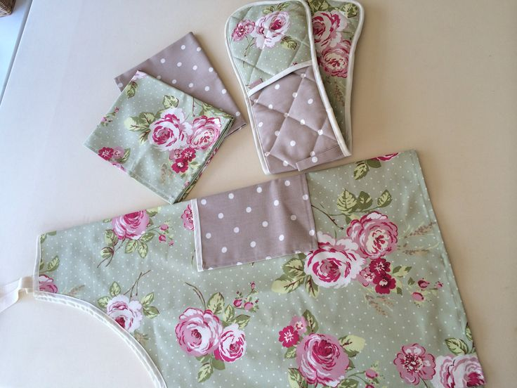 A full kitchen set comprising an apron, oven gloves and 2 tea towels. All matching! £32 for the set, everything available seperately. www.curtainsbyemmajane.co.uk
