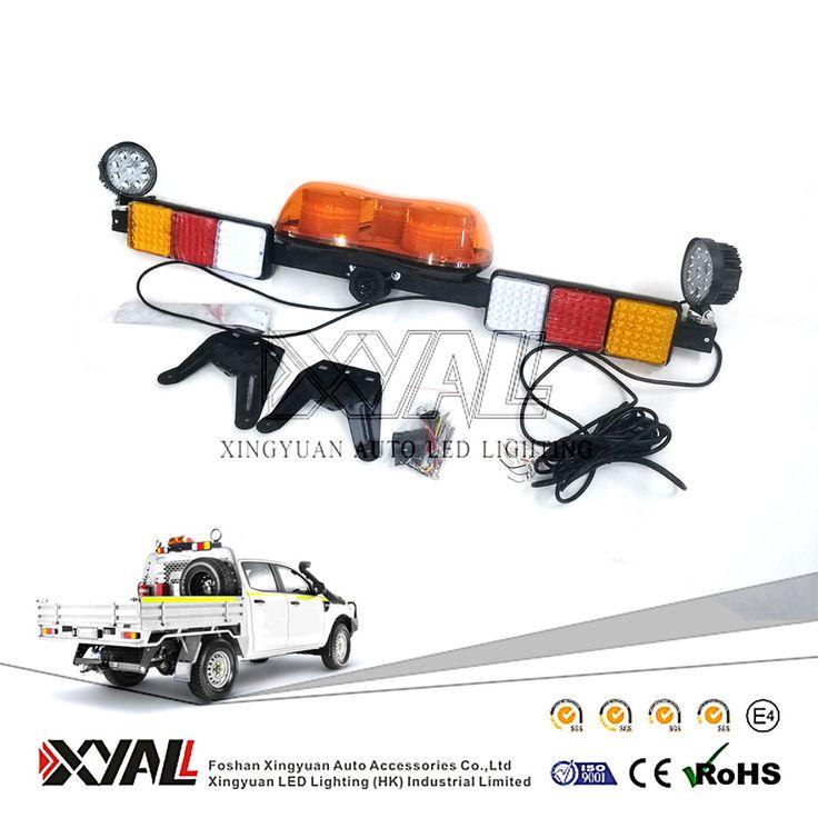 12V / 24V Mining Pickup Tow Truck Amber LED Emergency Warning Signal Safety Rotating Strobe Flashing Lightbar with Worklight