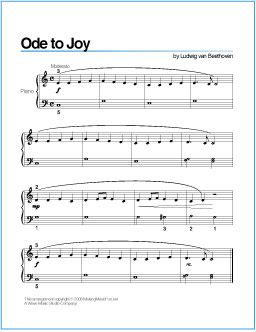 Ode to Joy (Beethoven) | Printable Sheet Music for Piano - http://wavemusicstudio.com/free-sheet-music/ode-to-joy-piano-sheet-music.php
