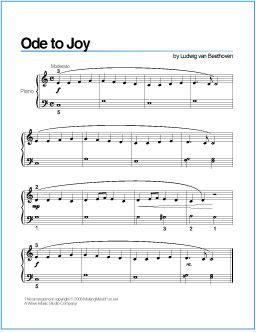 Ode to Joy (Beethoven) | Printable Sheet Music for Piano - http://wavemusicstudio.com/free-sheet-music/ode-to-joy-piano-sheet-music.php