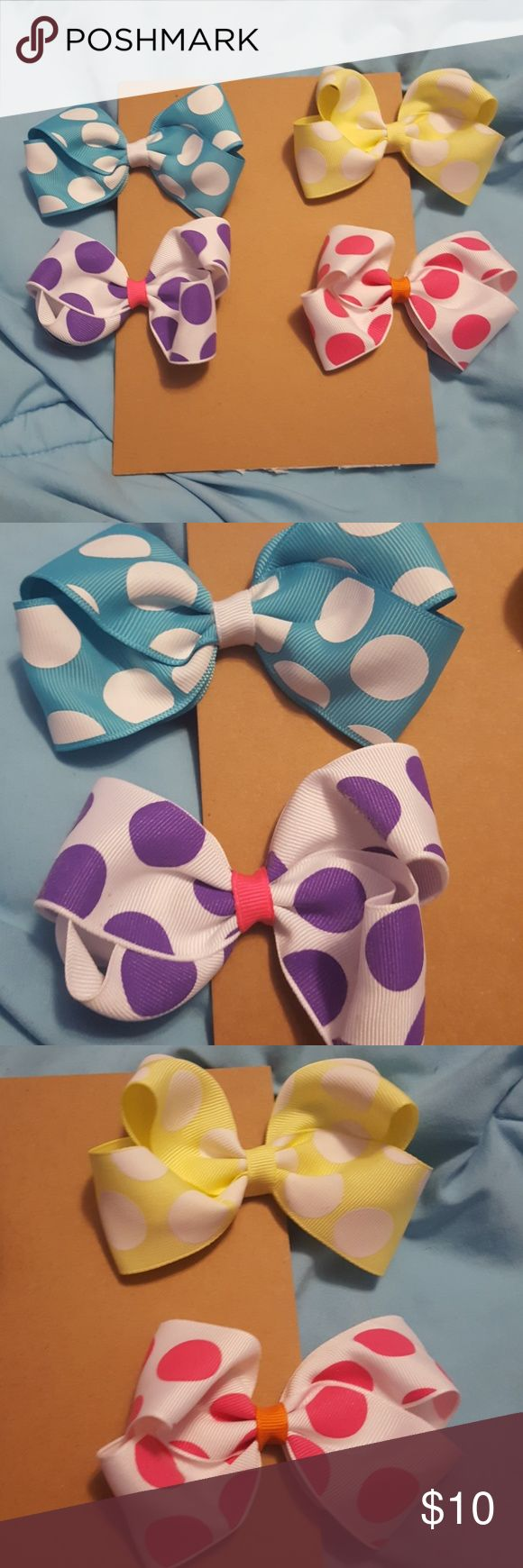 The Perfectly Pokadoted set, Alligator clip bows 4 for $10 or 1 for $3 Featuring  a blue with white polka dots and white center A white with purple polka dots and pink center A pale yellow with white polka dots A white with hot pi k polka dots and a orange center Accessories Hair Accessories