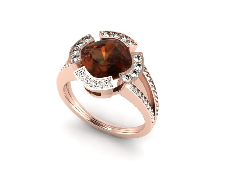 Zoe Harding - Garnet Cluster Ring (CAD Render)