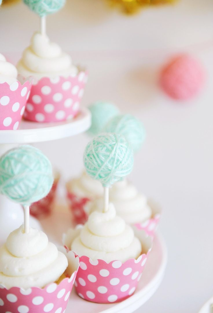 Cupcakes with Yarn Ball Toppers - adorable at a kitten birthday party or any party, for that matter!