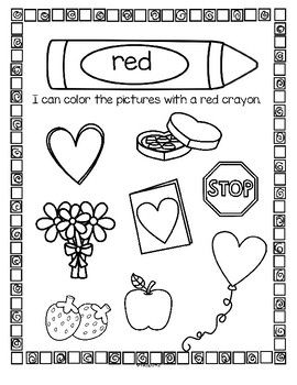 Color Red Valentines Centers, Activities and Printables
