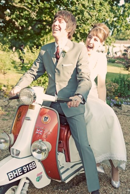 Create a special wedding photo with a vintage scooter. We have vintage rental decor available http://vintagevaultco.com/services/vintage-wedding-rentals/