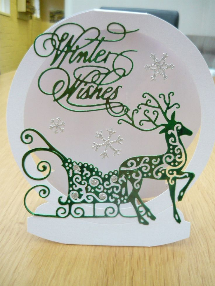 Tattered Lace snow globe card