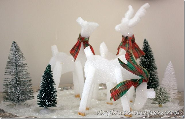 These adorable reindeer are made from styrofoam! A Diamond Dust coating makes them shine in the light. virginiasweetpea.com