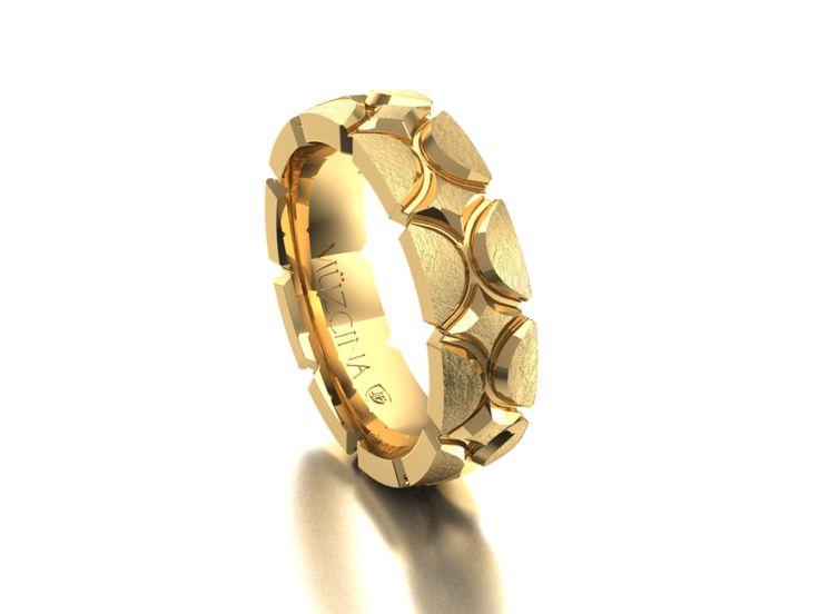 MÜZCINA Collection by JJBückar - BX29-H-100-X-XX-XX-18Y-SX, Stone Finish, 18K Yellow Gold, Men's, Wedding Rings, Wedding Bands, Designer, Luxury, Deluxe, Unique, Modern, Pattern, Custom, Precision Machined