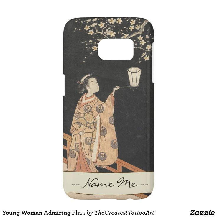 Young Woman Admiring Plum Blossoms at Night art Samsung Galaxy S7 Case