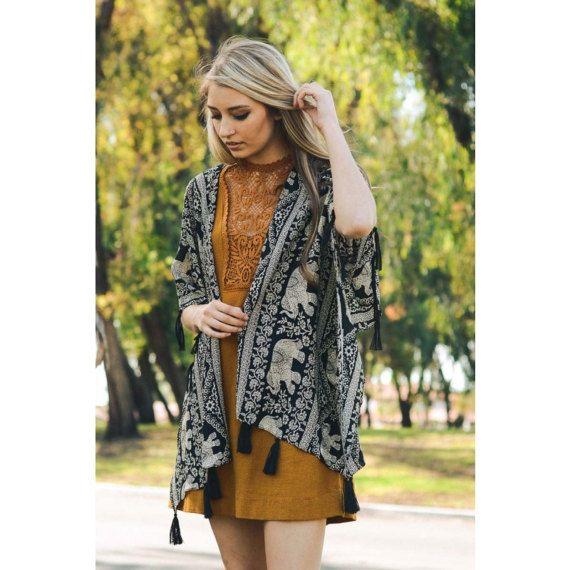 Kimono, elephant kimono, Beach cover up, Bohemian, tassel kimono cardigan, black kimono,Oversized kimono, Summer boho jacket , Boho kimono