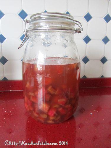 Im August 2012 hat sich Véronique an einen Aprikosen-Pfisich-Shrub gewagt. Ich finde es ja immer ein wenig unglücklich, wenn deutsche Wörter mit schwer zu ersetzenden englischen Begriffen kombiniert werden.     Shrub is a flavored, mostly fruit, syrup based on acidity, usually vinegar  Nun, jetzt ist Rhabarberzeit und Frau Kollegin hat mir reichlich Rhabarber aus ihrem Garten spendi ...