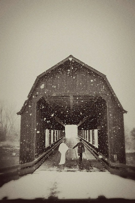 love this photo: Picture, Winterwedding, Wedding Ideas, Winter Wonderland, Wedding Photos, Covered Bridges, Photo Idea, Winter Weddings, Photography