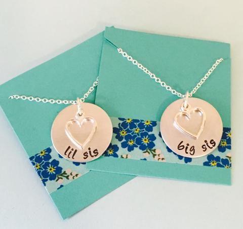 Big Sister, Little Sister, Sisters Necklace Set, Necklace Set, Sibling Jewelry, Sister Necklaces, Sister Set, Big Little Sorority