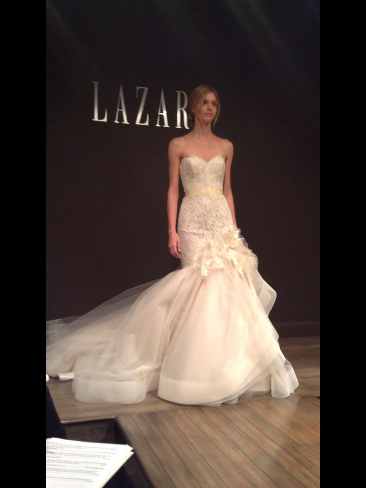 Lazaro Bridal Gown Wedding Gown Strapless Trumpet Tulle Lace Embellished