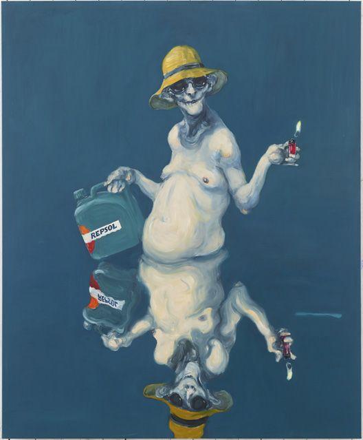 Painting by the Danish artist Michael Kvium, Petroleum, 2015, 140 x 170 cm.