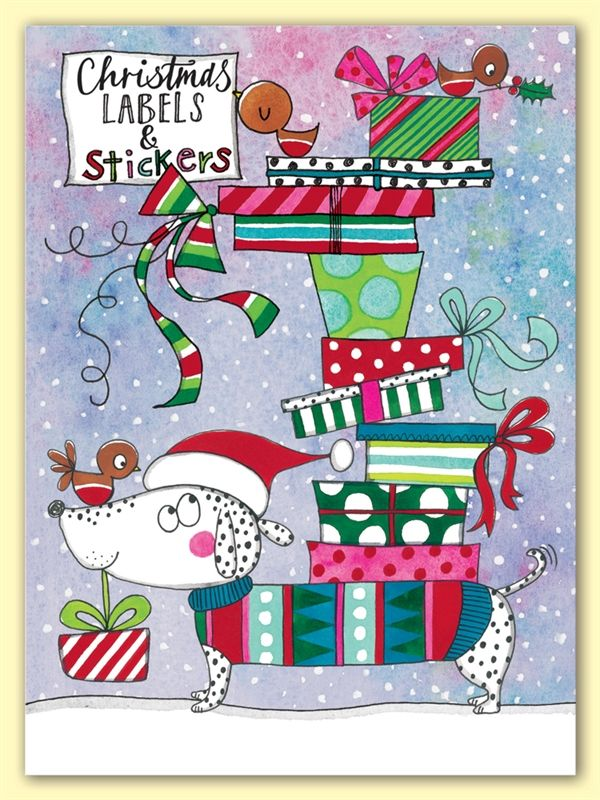 XLAB2 Sausage Dog and Presents - Christmas Labels - Christmas Stationery - Rachel Ellen Designs – Card and Stationery Designers and Publishers