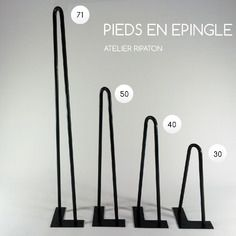 Pieds de table en épingle 30 cm brut - hairpin legs fait main - piétement de table