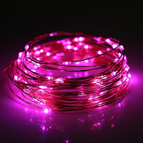 JZHY String Lights,8 Modes USB Starry String Lights,100 LEDs,33 ft Copper Wire 5V,Remote Control Outdoor Indoor String Lights for Bedroom, Garden, Party, Christmas Tree, Decorations(pink)