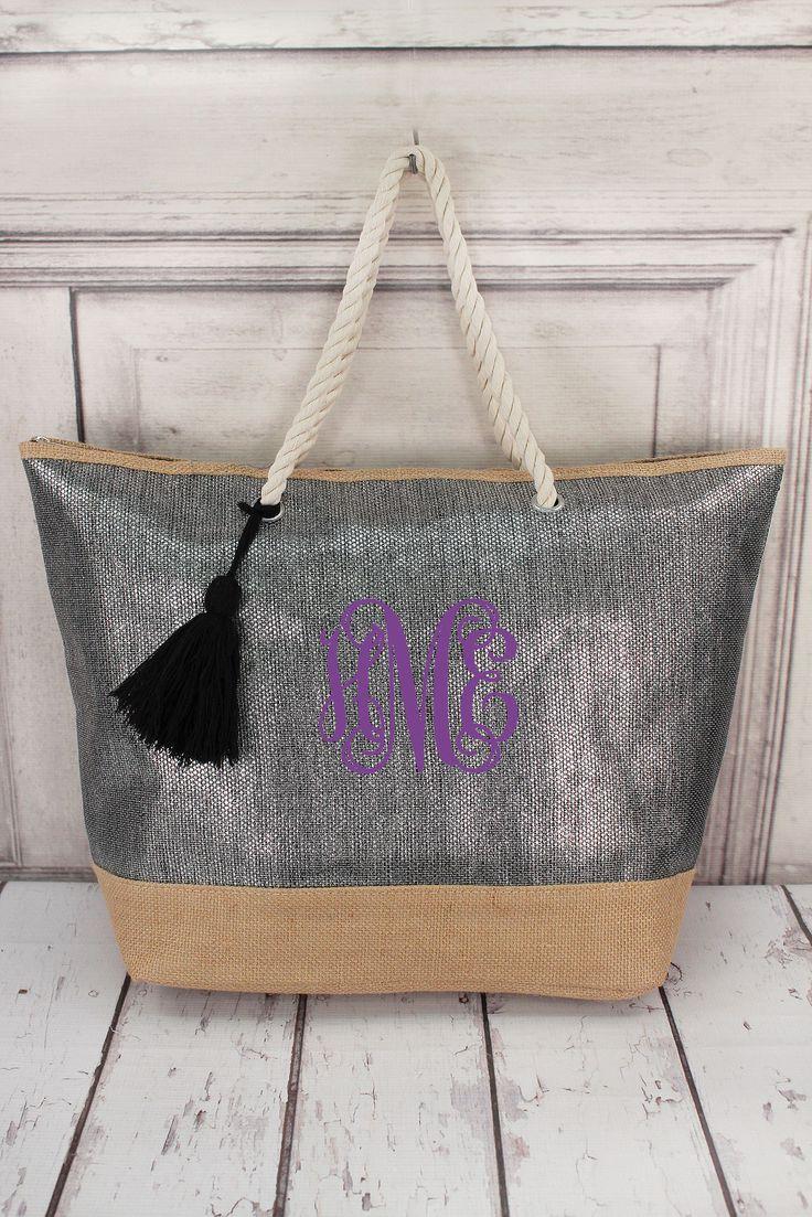 Metallic Black and Jute Tote Bag with Tassel #B554-BLACK