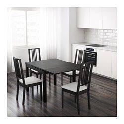 BJURSTA Extendable table, brown-black - IKEA