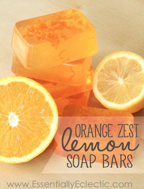 Citrus soap made with orange zest, lemon essential oil, clear melt-and-pour soap base, and vitamin E. This orange zest lemon soap smells like summer!
