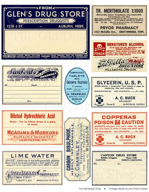 Vintage Antique Medical Medicine Poison Label Tag Digital Download Collage Sheet Supplies Vintage Scrapbook Ephemera Pharmacy