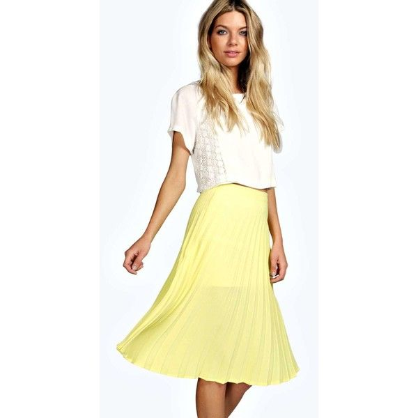 Boohoo Holly All Over Pleated Crepe Midi Skirt ($14) ❤ liked on Polyvore featuring skirts, yellow, midi skirt, maxi skirt, pleated maxi skirt, yellow maxi skirt and pleated a line skirt
