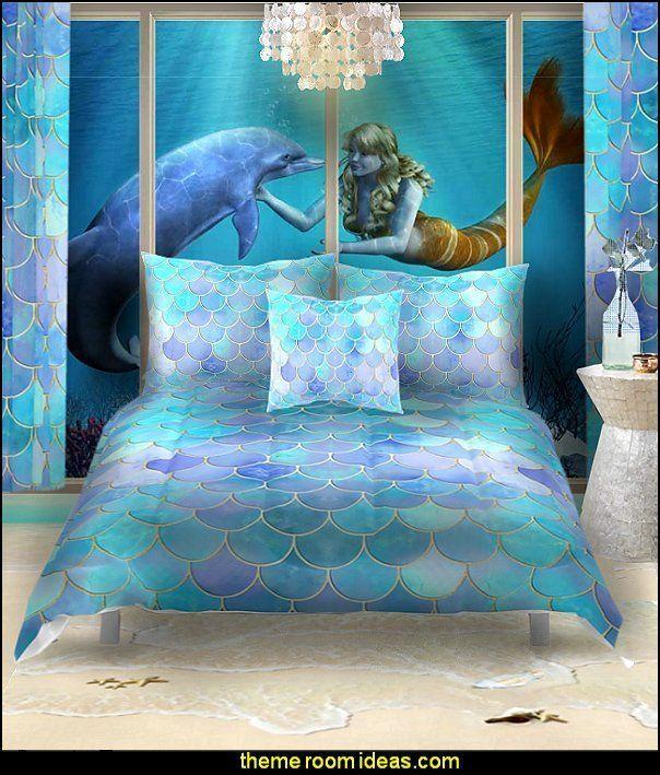 Meerjungfrau Schlafzimmer Meerjungfrau Bettwasche Ozean Boden Wandbild Unterwas Bettwasche Boden In 2020 Mermaid Bedroom Mermaid Decor Bedroom Sea Theme Bedrooms