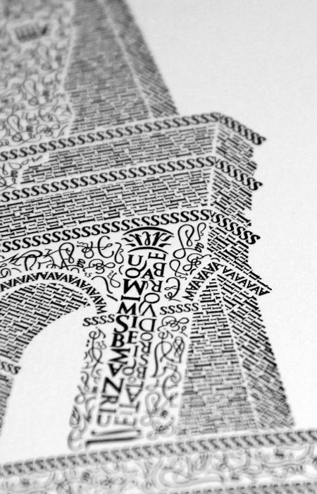"""""""Colosseo"""" Letterpress Print. An extraordinary poster by the ridiculously talented Cameron Moll, that took a year to make. An image of the Coliseum in Rome, Italy is formed using handcrafted characters from the Goudy Trajan and Bembo Pro typefaces."""