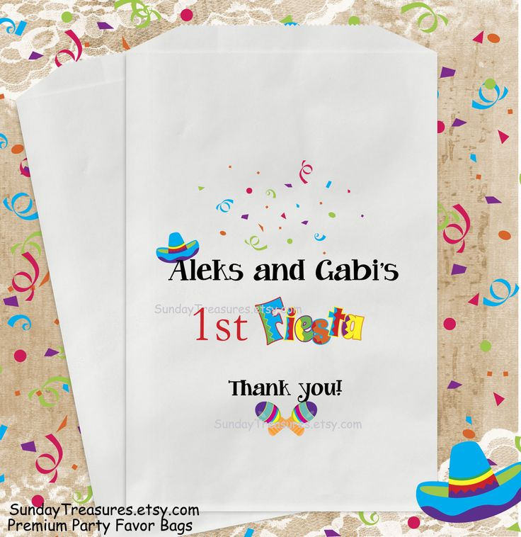 12 Pak FIESTA Party Favor Bags / Candy Goody Treat Bag / Birthday Baby Shower Wedding Quincenera 15  PERSONALIZED  / 3 Day Ship by SundayTreasures on Etsy