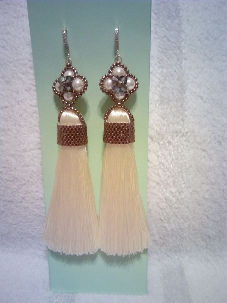 Tassel earrings with Swarovki pearls and crystals