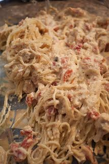 Ro-Tel Chicken Spaghetti Casserole: I add an extra can of either Cream of Mushroom or Cream of Chicken for extra sauciness and sprinkle top with cheddar cheese.