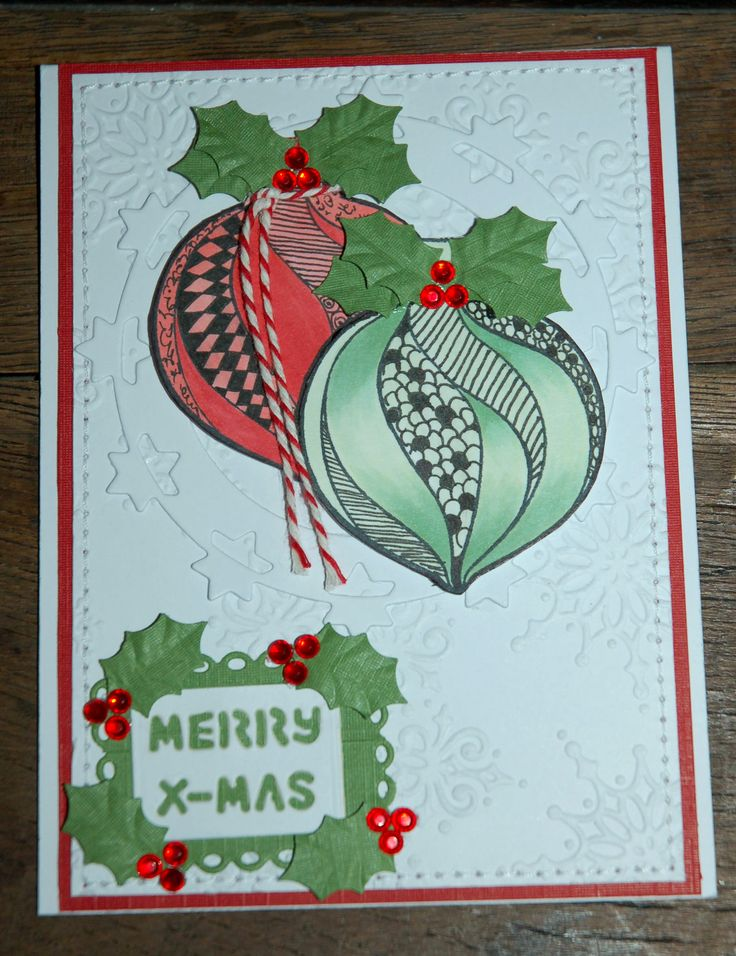 Christmas card with the doodle stamps from Leane Creatief (55.0126 Christmas ornament). Also used for this card Embossingfolder 35.9777 Snowflakes background, MFD018, SD018 en Floralpunch 33. All products available at snellencrafts.nl