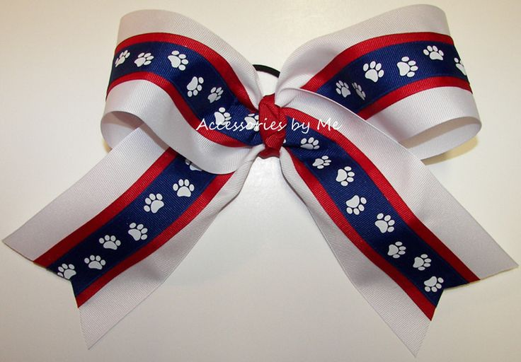 Red White Blue Paw Print Big Cheer Bow