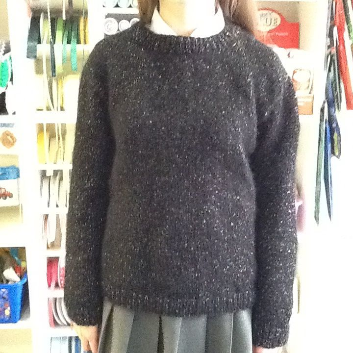 Jumper I knitted for my daughter, she just wanted a plain sparkly black jumper, so I used bergere de France eclair in black, and a jumper pattern from their creation 13/14 book.