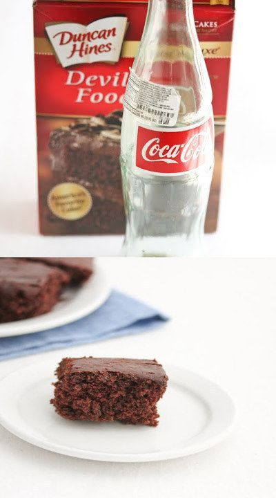 You can make a delicious fudgy cake with just chocolate cake mix and a can of Coke! http://www.creationsbykara.com/2014/02/how-to-frost-cupcakes-with-less-mess.html/