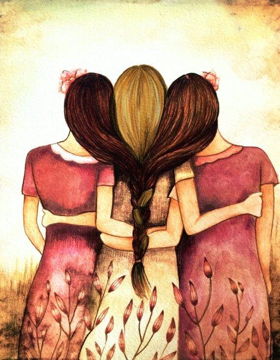 Three Friends Drawing : three, friends, drawing, Siblings, Gift,, Three, Sisters, Vintage, Brown, Blonde., Drawings, Friends,, Drawing