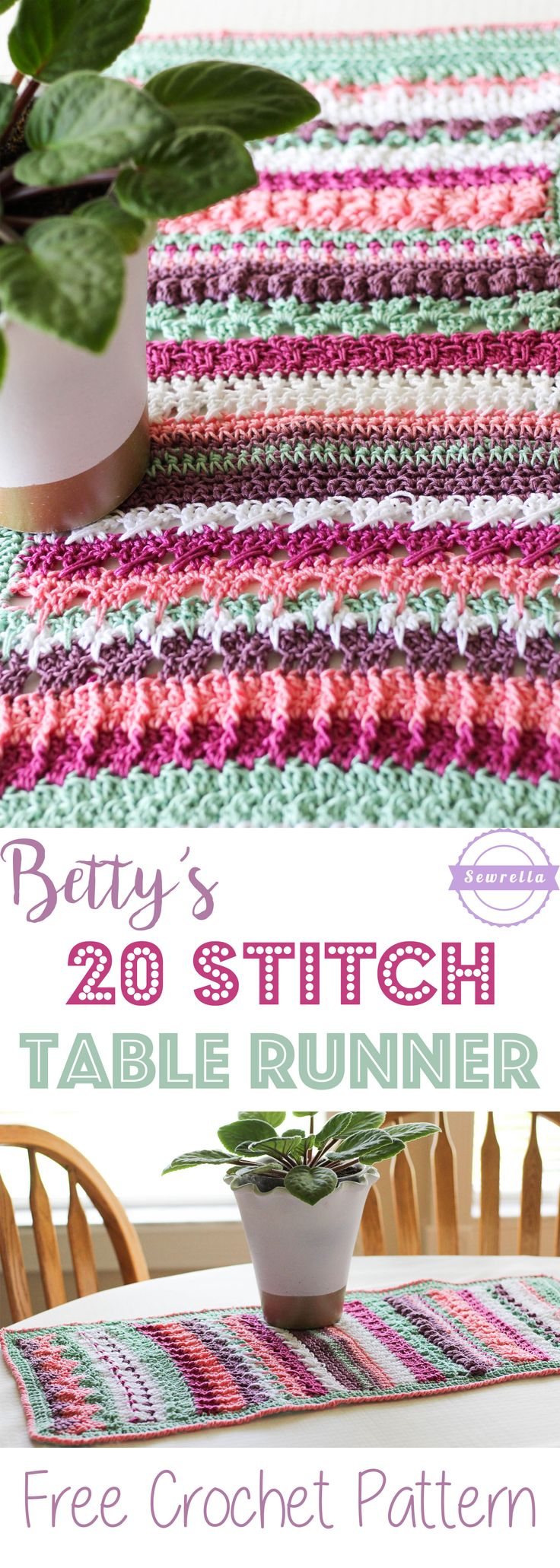 Betty's 20 Stitch Table Runner | Free Crochet Pattern from Sewrella