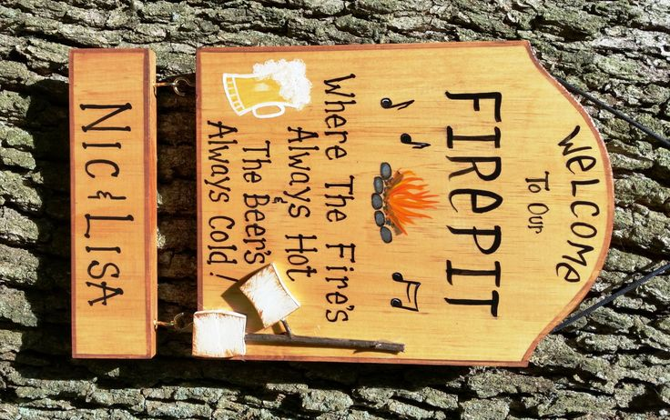 Welcome To Our Fire Pit Firepit Sign Bonfire Custom U0026 Personalized Camping  Campsite Or Home Beer Is Cold Fire Is Hot Sign Hanging Names
