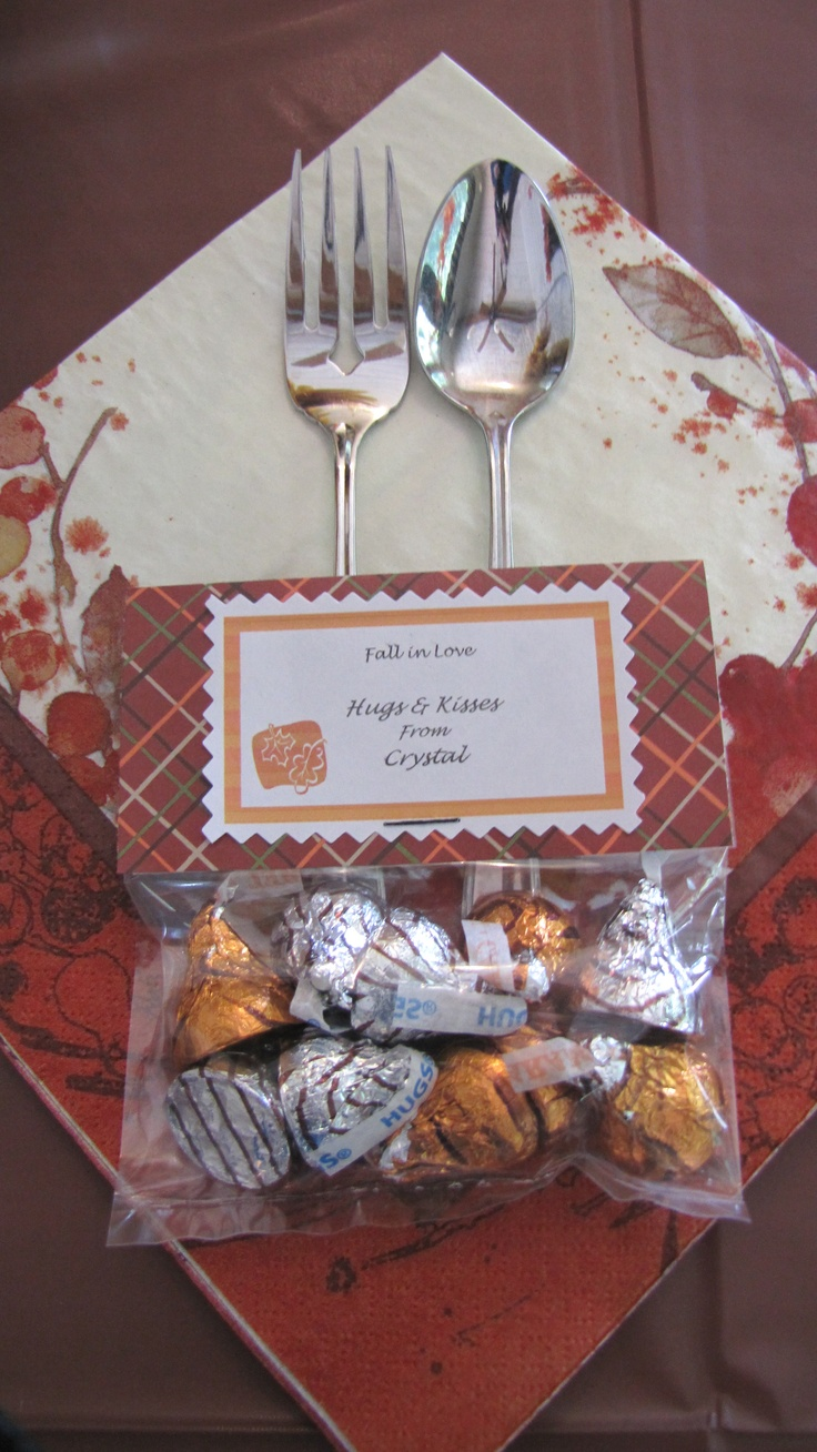 Fall Bridal Shower Favors for the guest.  Hugs and Kisses.
