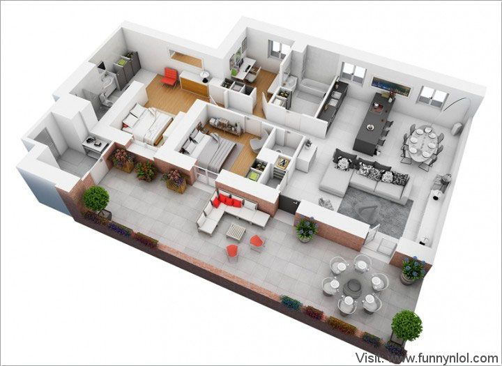 7 best Top 10 Awesome Two Bedroom Apartment 3D Floor Plans images on ...