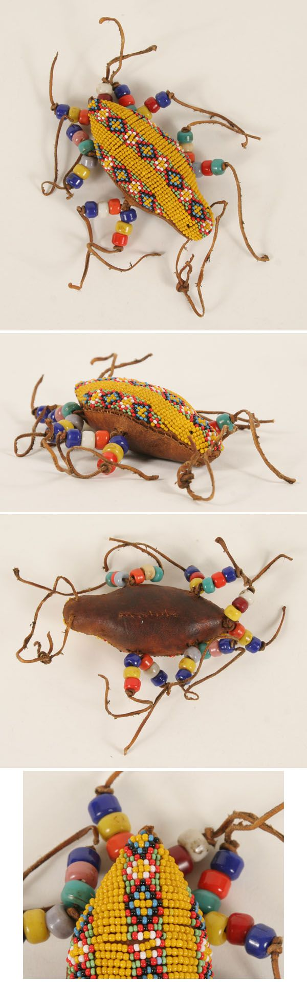 Native American beaded umbilical fetish