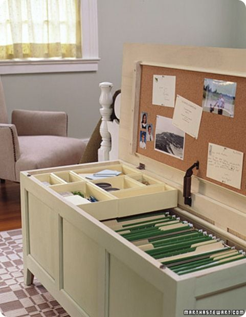 Office Storage Trunk | When Pamela from PB Stories purchased a new sawhorse desk with no storage, she had to get creative about finding a new home for all her papers. Using an old trunk, she did an easy transformation to turn it into a beautiful piece of functional furniture with hidden storage. The inside of the trunk now happily houses Pamela's hanging files and office items.